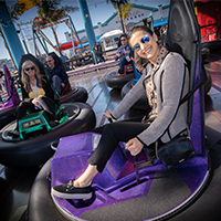 Breaking the ice with bumper cars on Santa Monica Pier