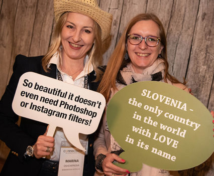 Marina and Anya enjoying the photobooth at Jelenov Greben