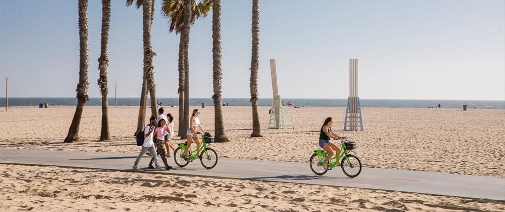 Cyclists on Santa Monica Beach